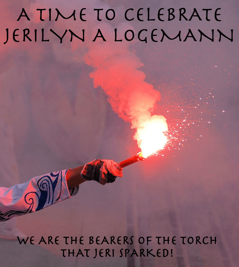 IN CELEBRATION OF JERI LOGEMANN'S LIFE WORK, THIS PICTURE SHOWS A TORCH THAT SYMBOLIZES ALL DEGLUTOLOGISTS AND SPEECH-LANGUAGE PATHOLOGISTS CARRYING ON HER WORK.