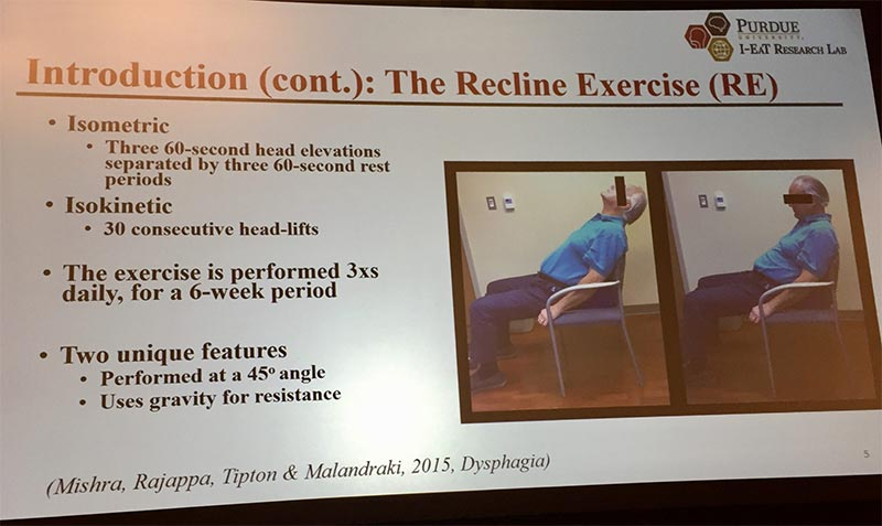 New swallowing research: An alternative to the Shaker Exercise that usually has people lay flat. Similar head raising exercise can be done in a reclined position in a chair as shown in this slide from DRS2018.