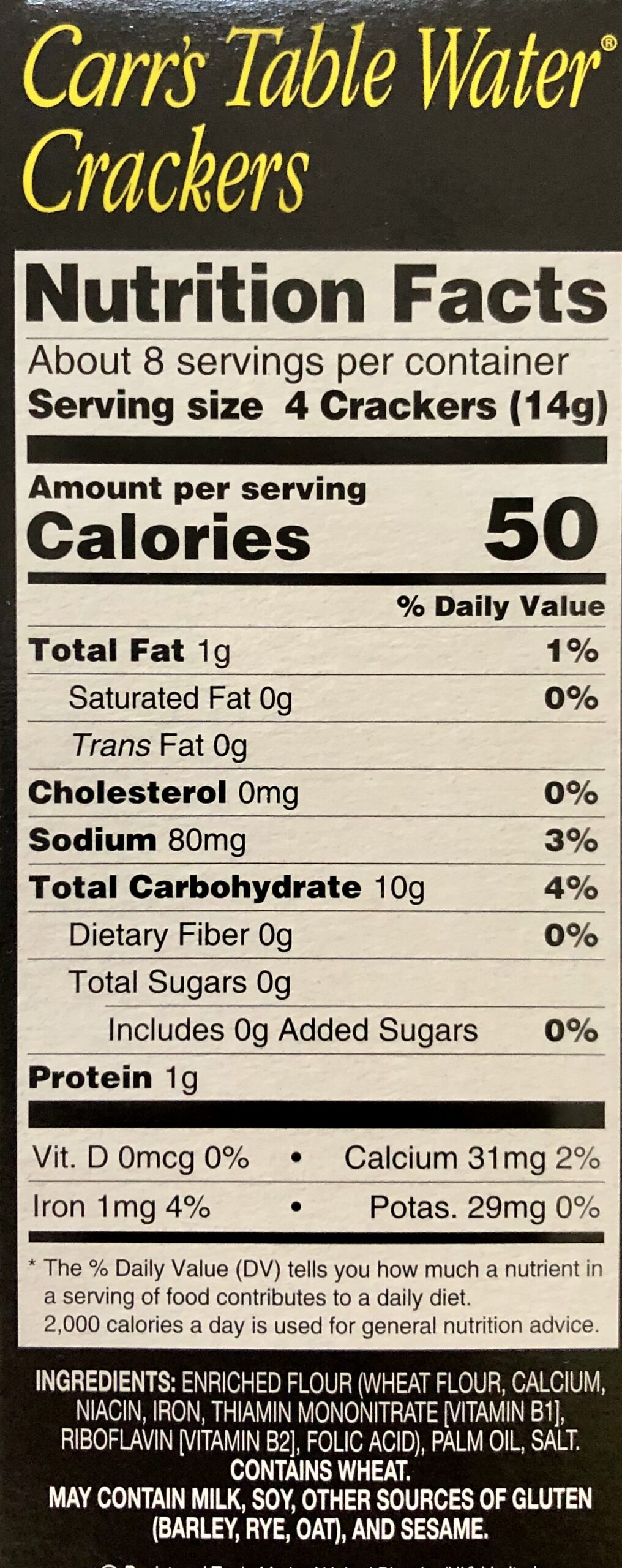 weight, calories, fat content of the Carr's Table Water Crackers or biscuits