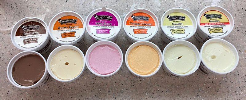 Many flavors of Magic Cup Frozen Desserts by Hormel Health Labs, which are an ice cream for people who aspirate thin liquids, as these stay thick.